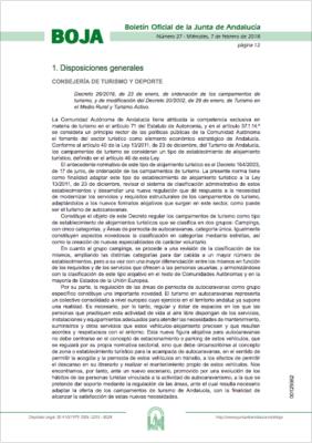 Decreto 26/2018, de ordenación de los campamentos de turismo, y modificación del 20/2002
