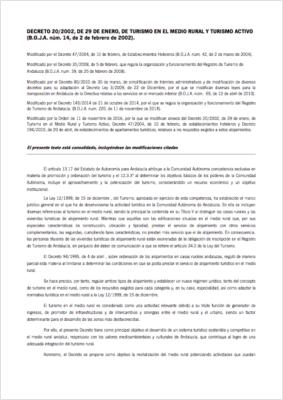 Decreto 20/2002, de Turismo en el Medio Rural y Turismo Activo