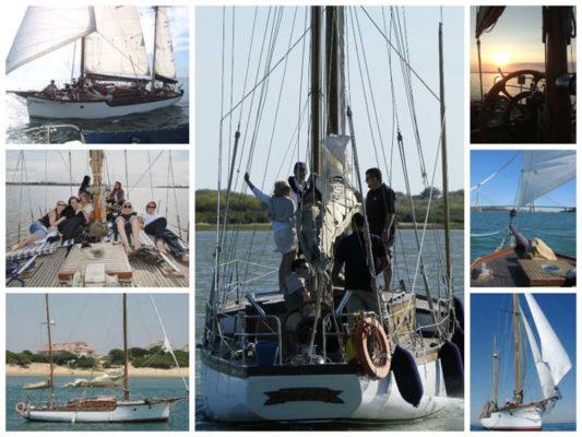 Collage de grupos en travesía en velero