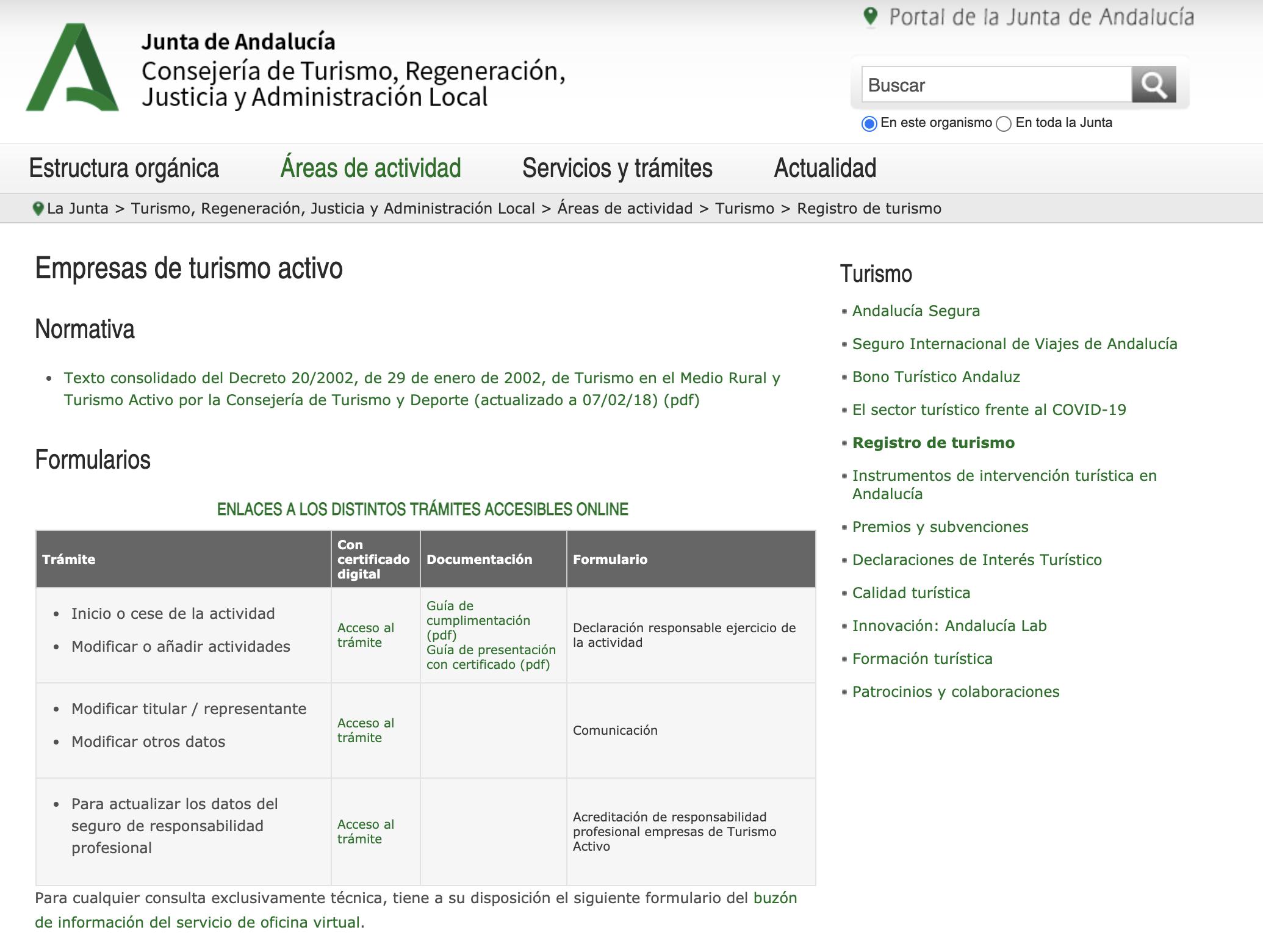 Instrucciones Registro de Turismo Activo Andalucía
